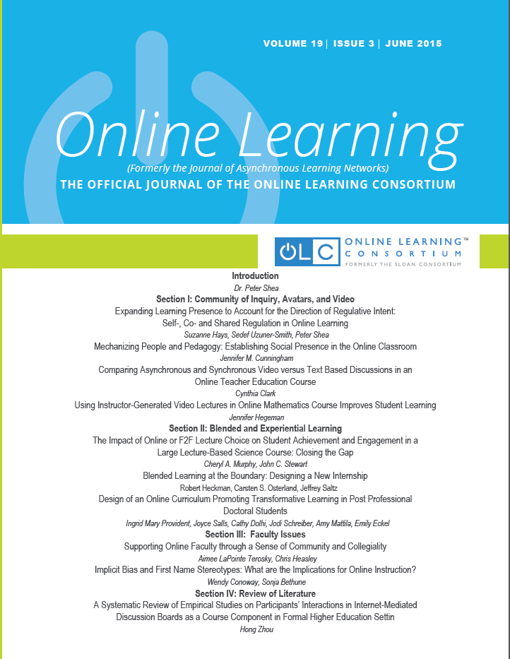 Online Learning (formerly Journal of Asynchronous Learning Networks)
